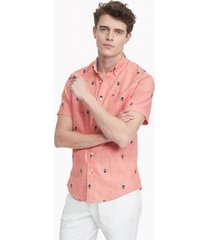 tommy hilfiger men's custom fit essential toucan shirt exotic coral - s