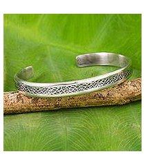 sterling silver cuff bracelet, 'forest footpaths' (thailand)