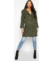 double breasted trench wool look coat, khaki