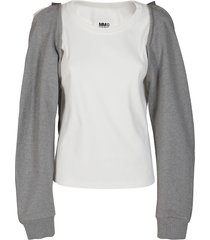 white and grey cotton sweatshirt