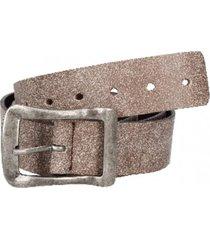 cinturón cuero con perforaciones beige panama jack