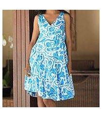 cotton batik dress, 'balinese sea' (indonesia)