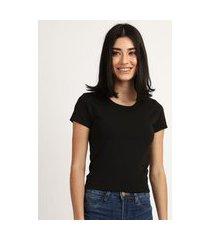 camiseta feminina básico manga curta decote redondo preta