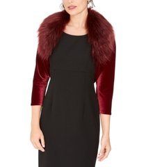 tahari asl velvet faux-fur-collar shrug, created for macy's