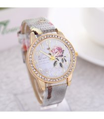 modello in pelle casual orologio da polso al quarzo stile cinese con motivo di peonia per le donne