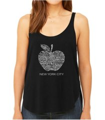 la pop art women's premium word art flowy tank top- neighborhoods in nyc