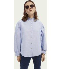 scotch & soda boxy fit blouse van oxford-kwaliteit