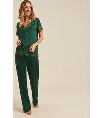 pijama joge longo verde