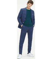 tommy hilfiger men's slim fit virgin wool stripe suit denim blue - 38