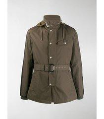 alexander mcqueen belted hooded jacket