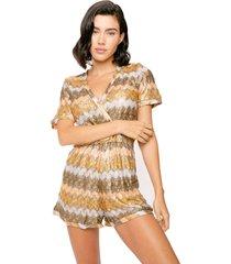 multicolor lamina beige knitted short jumpsuit