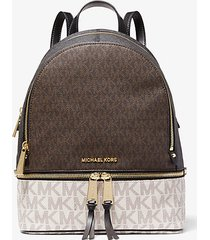 mk zaino rhea medio color block con logo - brown multi - michael kors