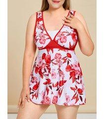 plus size floral print tankini swimwear