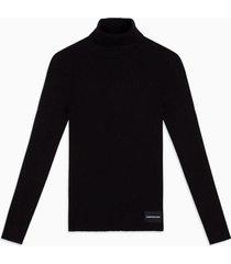 sweater iconic rib turtle negro calvin klein