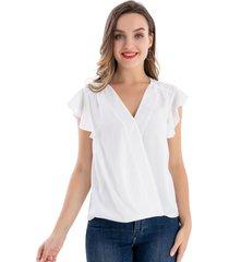 blusa escote cruzado blanco nicopoly