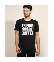"camiseta masculina stranger things friends don't lie"" manga curta gola careca preta"""