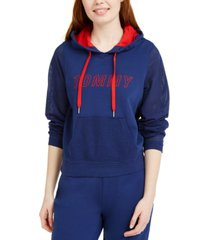 tommy hilfiger sport mesh contrast embroidered hoodie