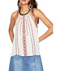 blusa blanco hueso-rojo-negro pepe jeans