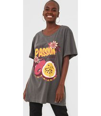 camiseta oh, boy! frutas cinza - cinza - feminino - algodã£o - dafiti
