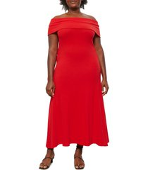 women's mara hoffman off the shoulder ribbed dress, size xx-small - red