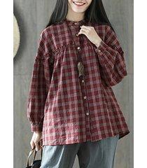 camicetta vintage a punto scozzese per donna