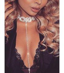 gargantilla de cadena larga de diamantes de imitación de plata