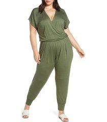plus size women's loveappella short sleeve wrap top jumpsuit, size 3x - green
