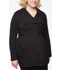 motherhood maternity plus size frenchy terry belted coat