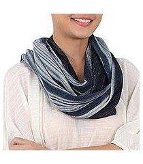 cotton infinity scarf, 'foggy night' (thailand)