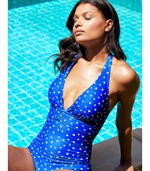 tuscany spot mindful halter tummy control one-piece swimsuit