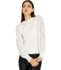 sweater manga floral blanco nicopoly