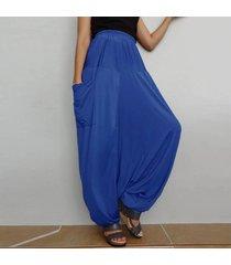 zanzea 2018 primavera mujer cintura alta bolsillos holgados con entrepierna pantalones de linterna pantalones anchos de gran tamaño harem pantalones largos retro mujer azul -azul