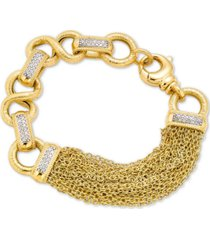 diamond chain link tassel statement bracelet (1/2 ct. t.w.) in gold-plated sterling silver