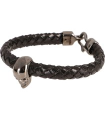 alexander mcqueen black leather skull bracelet