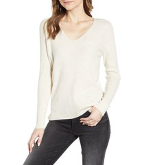 women's caslon waffle stitch v-neck sweater, size xx-large - beige