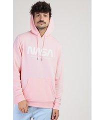 blusão de moletom masculino nasa com capuz e bolso canguru rosa claro