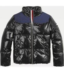 chaqueta acolchada extrabrillante negro tommy hilfiger