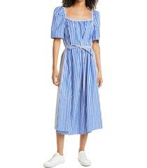 baum und pferdgarten aiko mixed stripe organic cotton midi dress, size 8 us in blue folk stripe at nordstrom