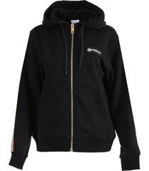 black check-print detail hoodie