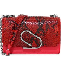 3.1 phillip lim women's alix python-embossed leather clutch - red