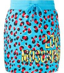 love moschino leopard print track skirt - blue