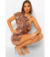 mini jurk met pailletten, ruches en eén blote schouder, rose gold