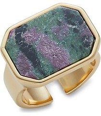 goldtone brass & zoisite ring