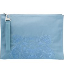 kenzo tiger embroidered pouch bag - blue