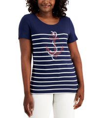 karen scott petite printed rhinestone-embellished t-shirt, created for macy's