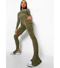 geplooide legging met split en cargo utility zakken, khaki
