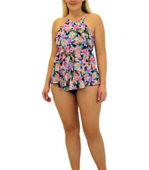 fit 4 u love story flared high neck tankini women's swimsuit