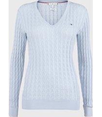 sweater tommy hilfiger celeste - calce ajustado