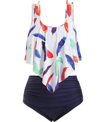 plus size feather print overlay tankini swimsuit