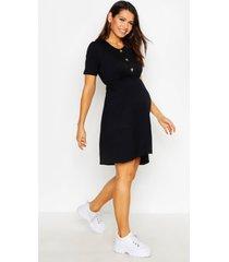 maternity horn button smock dress, black